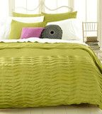 pleated tucks full duvet cover and shams set muted green