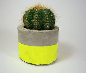 Neon Yellow Modern Concrete Planter - $15