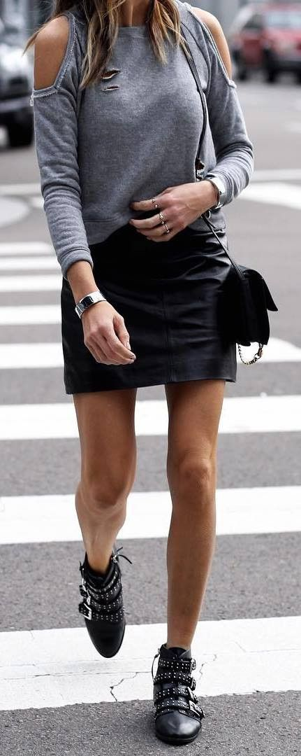 cute outfit idea top + skirt + boots