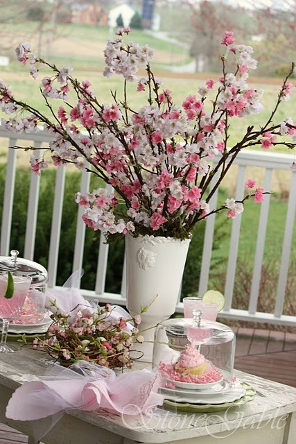 Cherry blossoms tablescape for a wedding shower brunch!