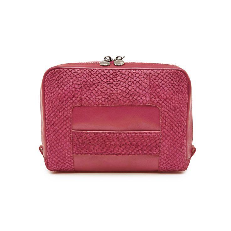 Midnight pink Lilli salmon leather shoulder bag clutch 3599