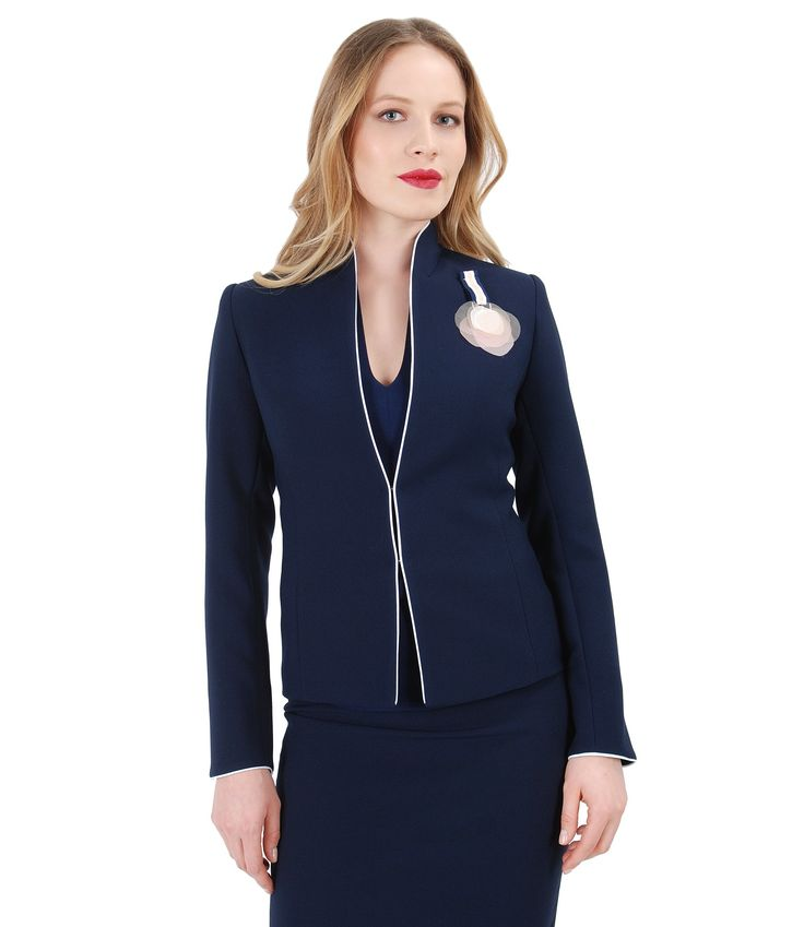 Simple & Classy spring17   YOKKO #jacket #business #office #blue #flower #spring17 #beauty #yokko #fashion