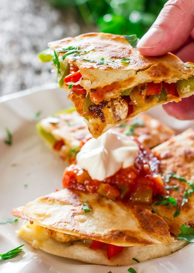 Chicken Fajita Quesadillas by #jocooks: sautéed onions, red and green peppers, perfectly seasoned chicken breast, melted cheese, between two tortillas. Simply delicious.