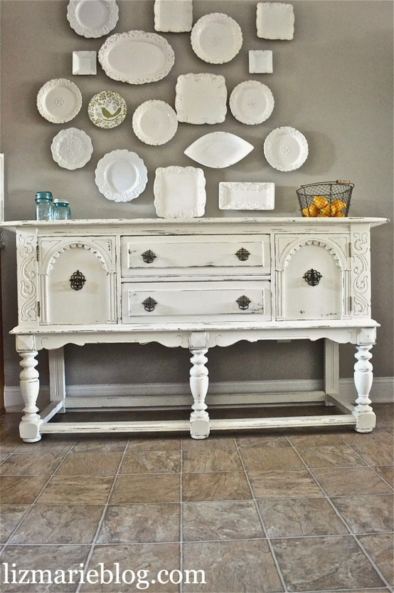 Simple Shabby Chic White Buffet Using Chalk Paint