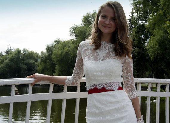 Fitted style short wedding dress with lace jacket  M34
