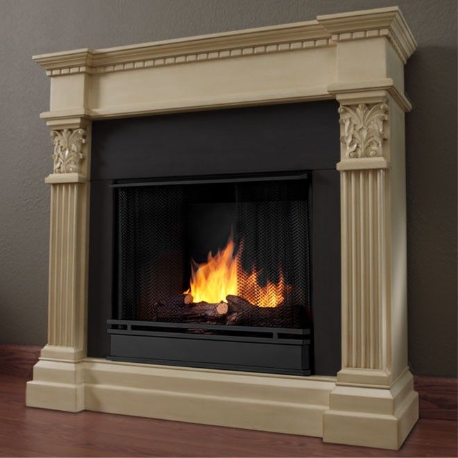 Real Flame Antique White Gabrielle Gel Fireplace
