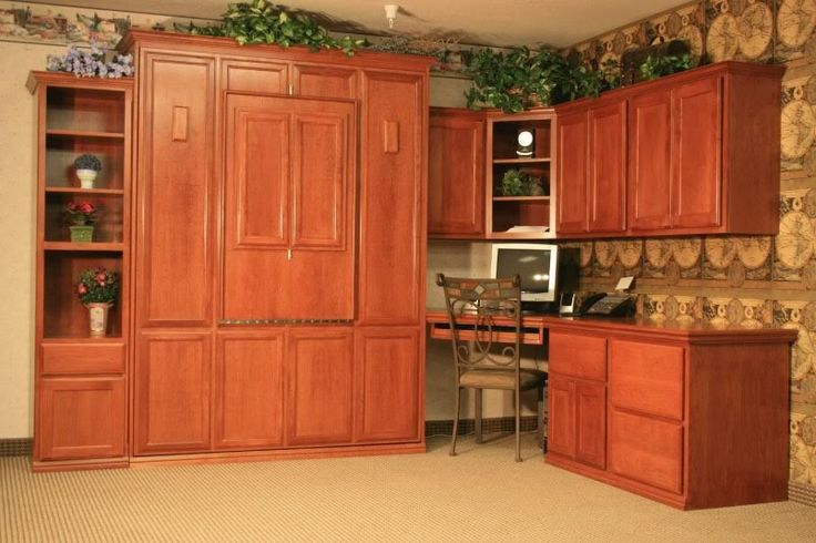 Murphy Bed Open Home Office Cabinets Den Desk Shelving Pinterest Murphy Beds Cabinets And