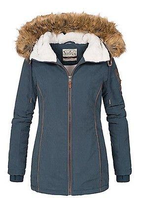 fccd8281d80d00 Eight2Nine Damen Winter Jacke abnehmbares Kunstfell by Urban Surface navy  blau - Art.-Nr