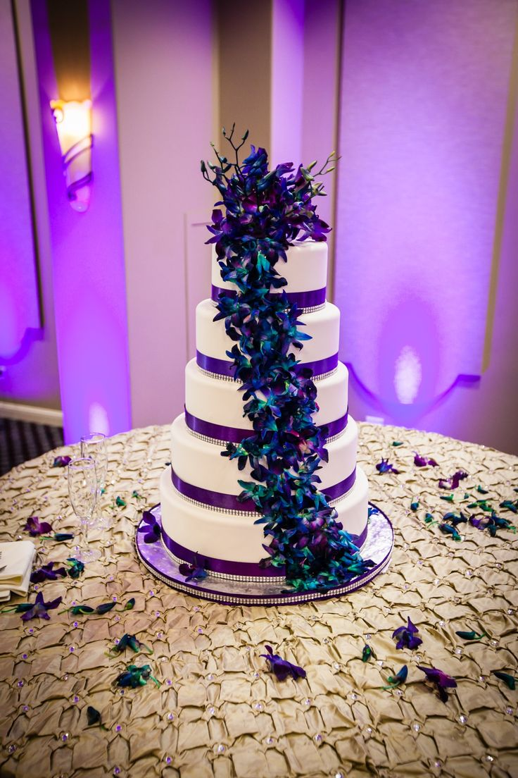 purple & teal wedding cake with orchids