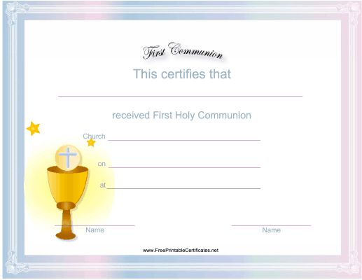 great for churches and eucharistic ministers this free printable first communion certificate has a
