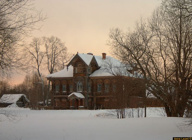 Northeast of Moscow to photograph these old abandoned, homes elaborately ornate in the Terem influenced style