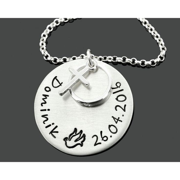 Eine wunderschöne, besondere Taufkette mit Namen und Datum aus 925 Sterling Silber. Ein besonderes Taufgeschenk mit Taufring und Kreuz für Kinder.