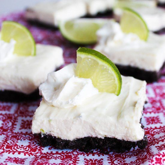 Easy, creamy no-bake white chocolate lime cheesecake bars with an Oreo ...