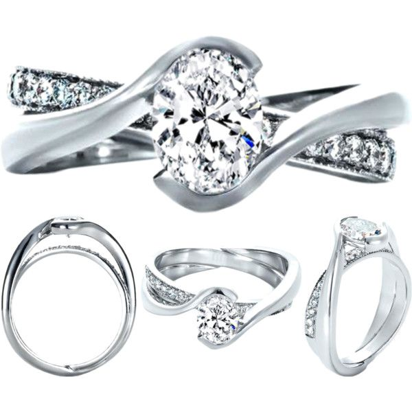 Oval Diamond Twisted Criss-cross Pave Engagement ring and Interlocking Wedding Band by mdc-diamonds on Polyvore