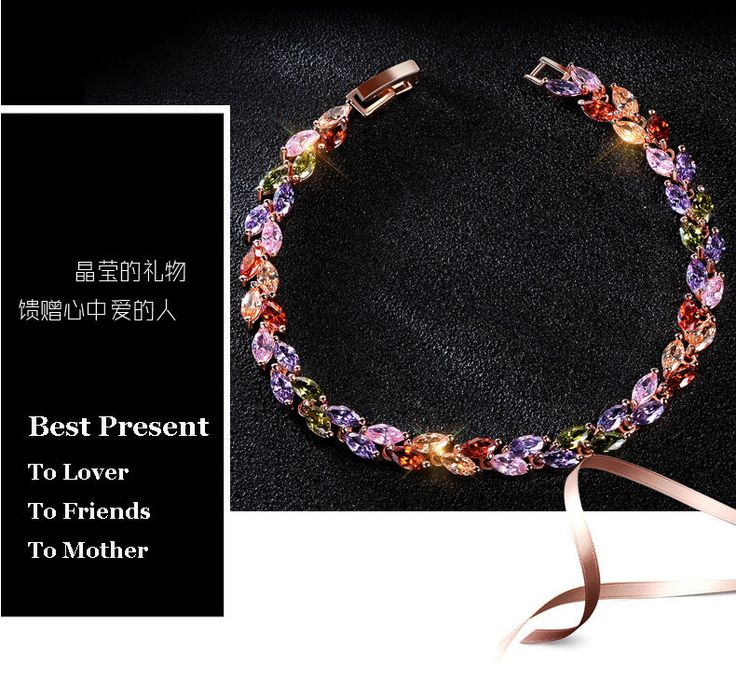 Lady Elegant Mosaic Sparkling Multicolor Zircon 18 K Rose Gold Plated Bracelet  #Handmade #Chain