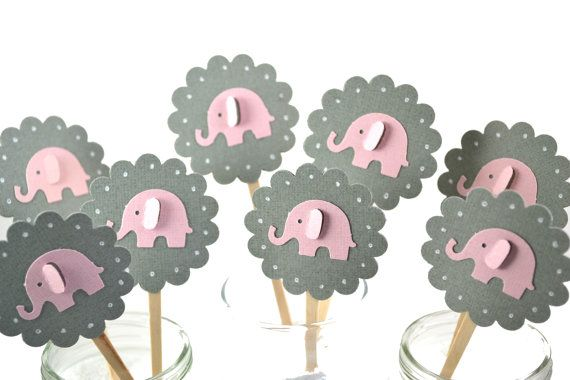 Grey and Pink Elephant Cupcake Toppers-Elephant Baby Shower-Elephant Birthday Party-Elephant Party Decor-Elephant Party Invitation