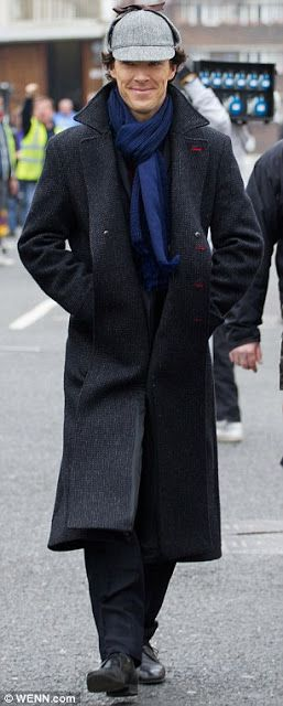 Benedict Cumberbatch and his deerstalker hat - filming Sherlock http://britsunited.blogspot.com/2013/04/benedict-cumberbatch-pictures-wears.html