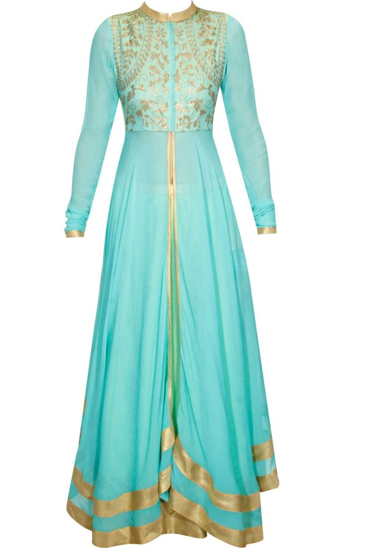 Turquoise and mint green sequins embellished umbrella cut kurta and lehenga set availaible only at Pernia's Pop Up Shop.