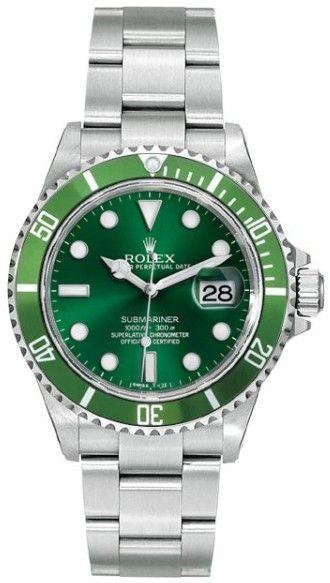 Rolex Submariner 16610 Steel Custom Green Mens Watch