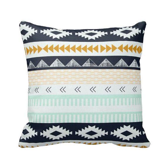 Zippered Arizona Southwest Native Band Throw Pillow Cover - Mint Navy Peach Mustard - Agave Field - Cotton - 14x14 16x16 18x18 Case Cushion