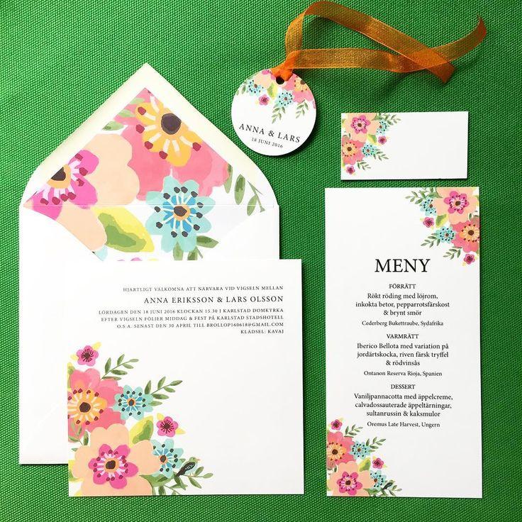 Blomsterfägring - En ny illustration och inbjudningskort till bröllop eller fest. Ett färgstarkt kort. Här med fodrat kuvert, placeringskort och menykort i samma tema. #bröllopfärg #inbjudan #inbjudningar #bröllopskort #bröllopsinbjudan #bröllopsinspiration #bröllopsillustration