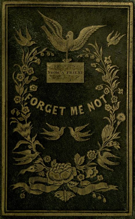 Decorative cover of 'Forget Me Not' (a gift for all seasons). Published 1845 by Nafis and Cornish. archive.org