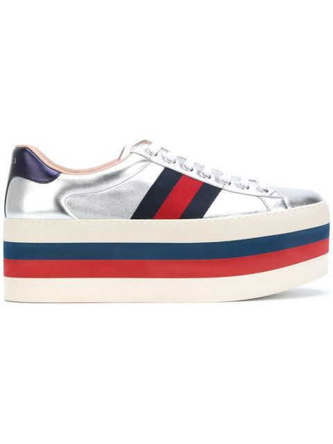 18cacc8c4ce GUCCI Gg Vintage Web Platform Sneakers.  gucci  shoes  sneakers ...