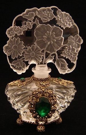 CZCL325 Vintage Czech perfume bottle with clear cut jeweled body and floral intaglio tiara stopper