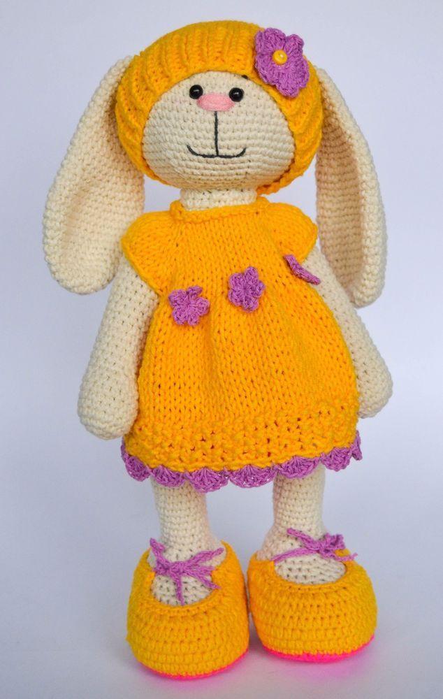 Rabbit Dress Animals Crochet Toy Stuffed Bunny Girl Handmade Artist Doll 12in #Unbranded