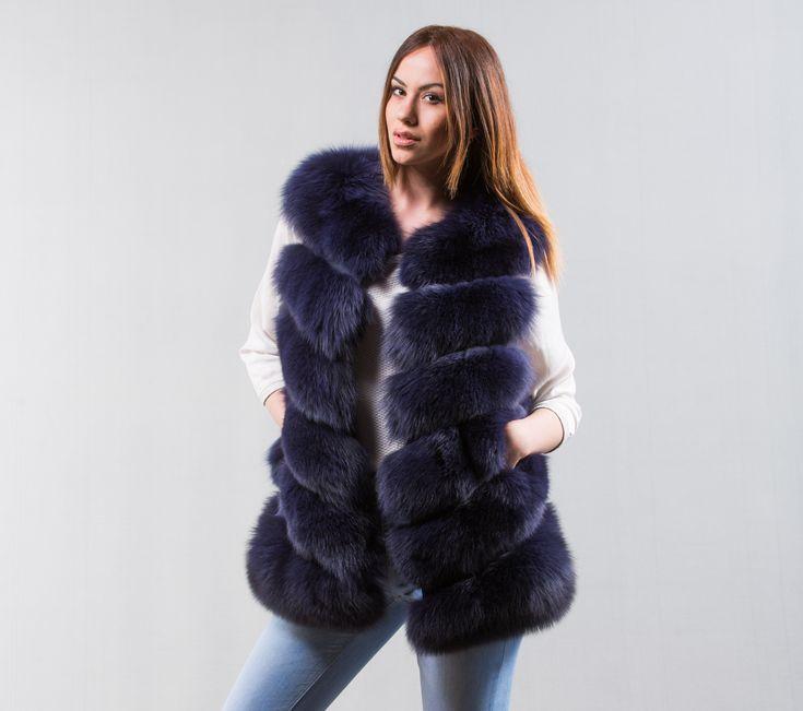 Navy Blue Fox Fur Vest    #navy #blue #foxfur #dyed #style #classy #vest #online #eshop #real #fur #chic #outfit #luxury