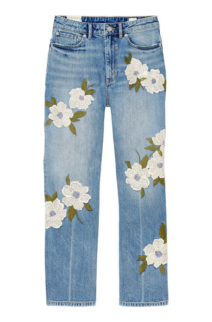 La Vie Floral Embroidered Anais Jean | Rebecca Taylor
