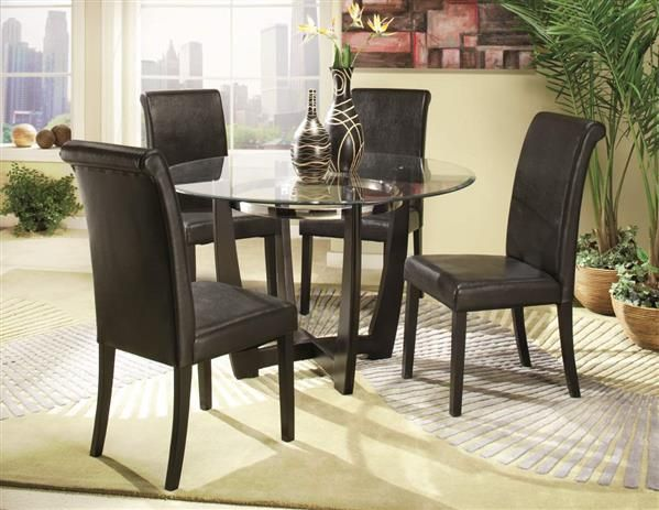 sierra ebony metal glass wood round table home elegance furniture rh pinterest com