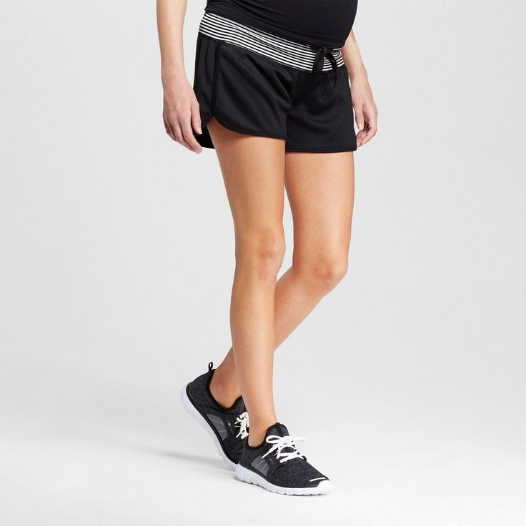 Women's Maternity Under the Belly Athleisure Shorts - Black XL - C9 Champion, Ebony