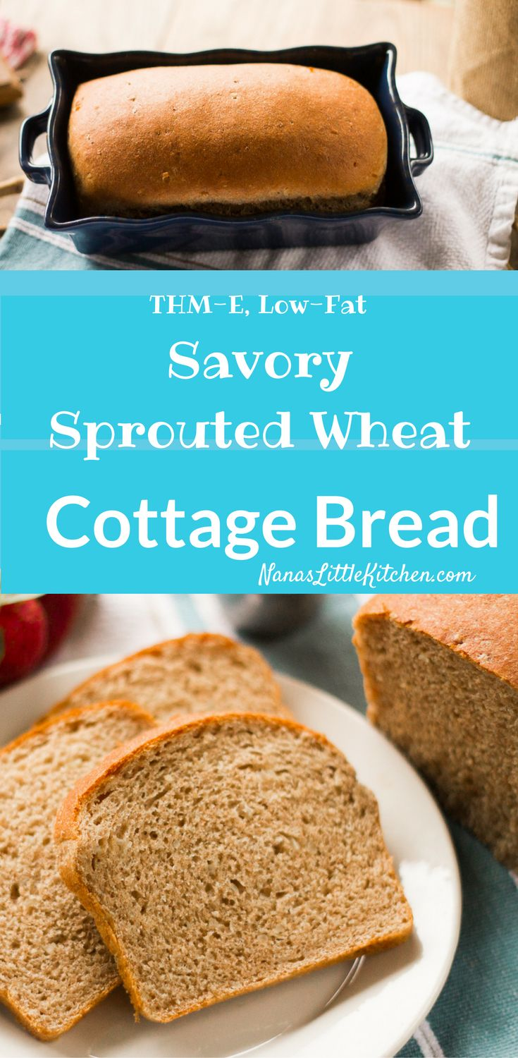 Savory Sprouted Wheat Cottage Bread is a delicious sandwich bread with a texture so moist and rich that you would never guess it is so low fat.