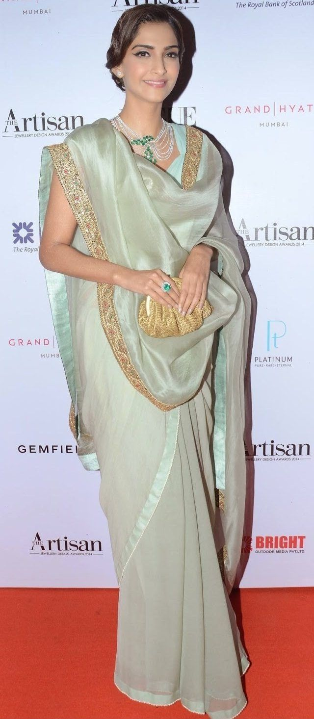 Sonam kapoor in Front Drape Style: A Casual Way to drape a Saree... Find out 10 more style at Looksgud.in