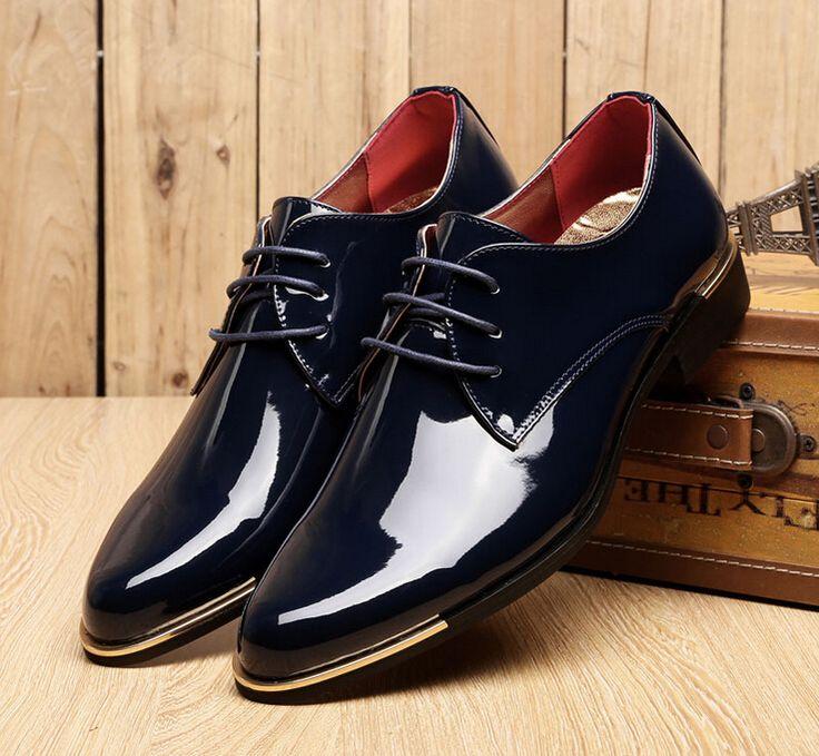Barato Super Fashion homens se vestem sapatos de verniz brilhante homens Oxford sapato baixo Top calçados casamento homens varejo, Compro Qualidade Sapatos Flat - Masculino diretamente de fornecedores da China: