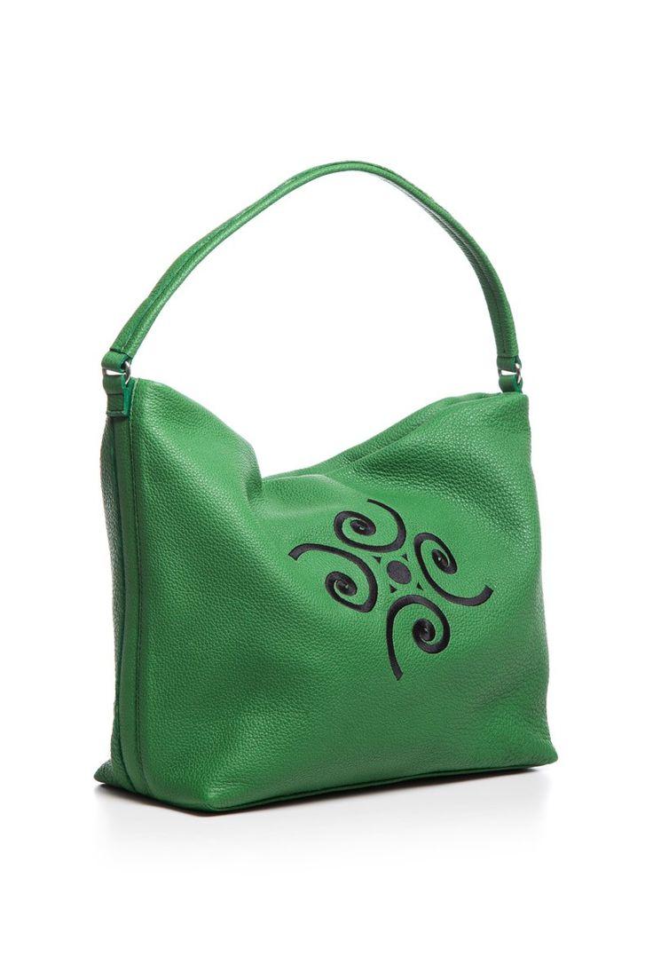 Geantă din piele verde - ROE