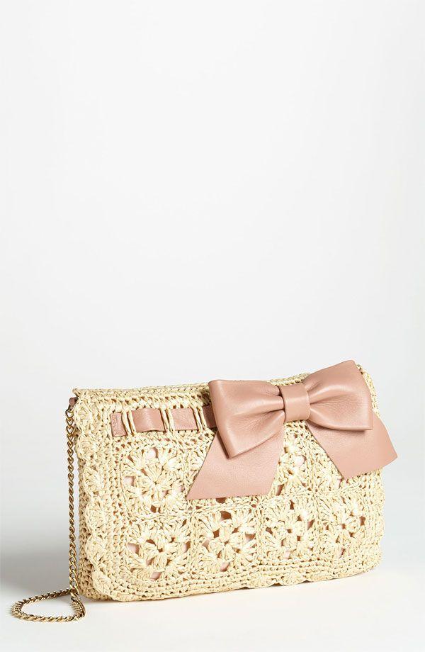RED Valentino Crochet Raffia Crossbody Bag   Nordstrom