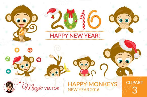 Monkeys clipart, Xmas, New Year by Magicvector on Creative Market