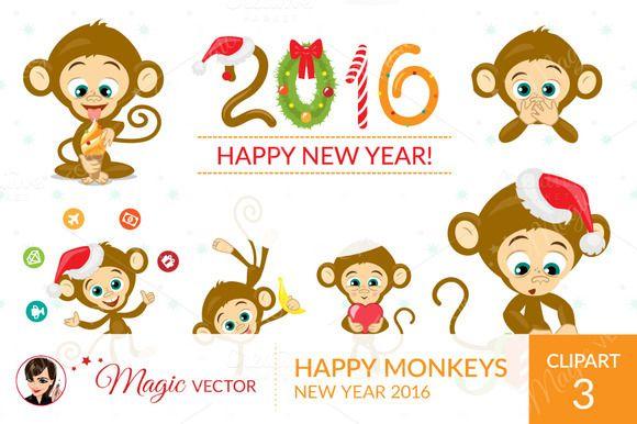 Monkeys clipart, Xmas, New Year by Magicvector on Creative Market
