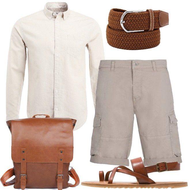 Sandali e senso di libertà anche per lui.  Abbiniamo questi sandali infradito, color cognac, in pelle a degli shorts beige con tasconi laterali. Accostiamo la camicia in cotone e lino, in vita la cintura in tessuto e per finire lo zaino in similpelle.