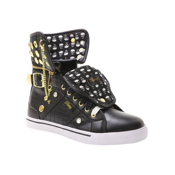 Women's Pastry Sugar Rush ($60) ❤ liked on Polyvore featuring shoes, sneakers, athletic, black, trainers, black high-top sneakers, black leather sneakers, black high tops, high-top sneakers and studded sneakers