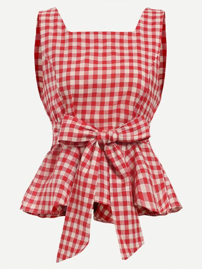 Red Checkerboard Self Tie Peplum Top