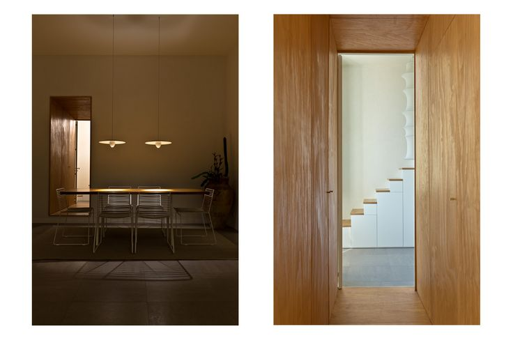 persianipardo - The plywood corridor, which is treated with coffee to get the specific coloration, designs a spatial break and hides the entrance to the bathroom.