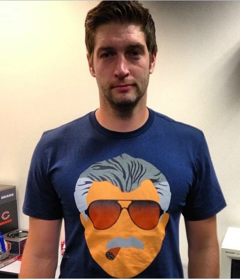 Smokin' Jay Cutler wears a Mike Ditka T-shirt