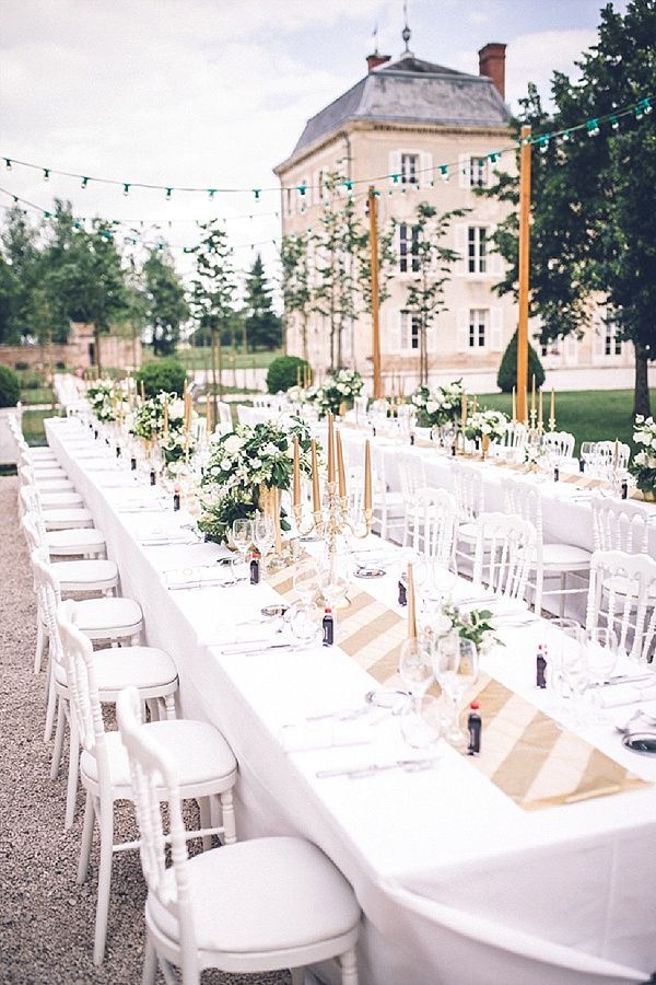 Outdoor wedding reception ideas | Image By Amy Faith Photography - A very stunning table at Château de Varennes, in Burgundy