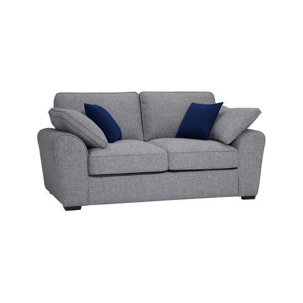 Silver With Blue Fabric Sofas 2 Seater Deluxe Sofa Bed Robyn Range Oak Furnitureland Sofa Frame Sofa Oak