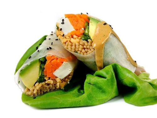 Beyond Sushi's Nutty Buddy rice-paper wrap with buckwheat noodles, carrots, avocado, baked tofu, romaine lettuce, crushed peanuts, cilantro and jalapeño peanut butter