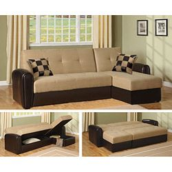 @Overstock - Update your living space with this espresso and tan microfiber sectional sofa by Newman. This practical sofa comes in two pieces and includes a loveseat that coverts to a bed and a chaise with flip-up storage. Asian hardwood ensures durability.http://www.overstock.com/Home-Garden/Newman-Sectional/3936539/product.html?CID=214117 $759.99