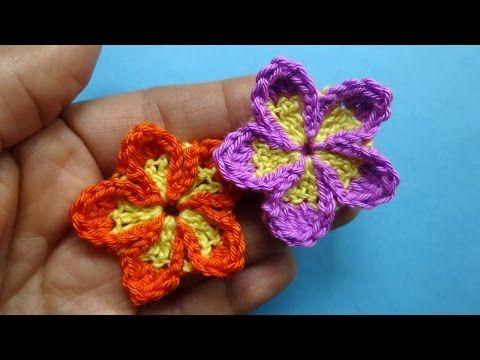 Маленький пятилистник Вязаные цветы 87 Crochet flower pattern - YouTube